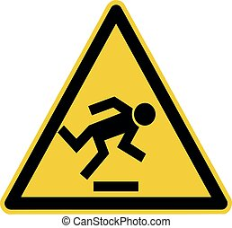 watch your step - warning sign , floor level obstacle caution symbol,