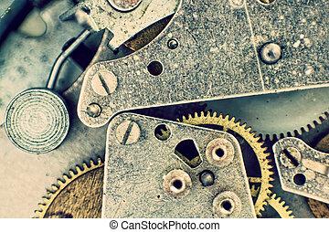 watch.clock, macro, binnen, mechanisme, zak, achtergrond., toestellen