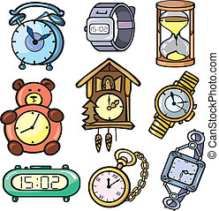 Watches and clock icons set