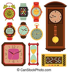 Watches flat set. Colorful vector illustration.