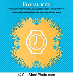 watches. Floral flat design on a blue abstract background with place for your text. Vector