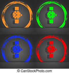 watches icon symbol . Fashionable modern style. In the orange, green, blue, red design.