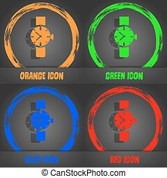 watches icon symbol . Fashionable modern style. In the orange, green, blue, red design. Vector