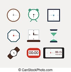 Watches in different colors, icons for web, vector set. Flat style.