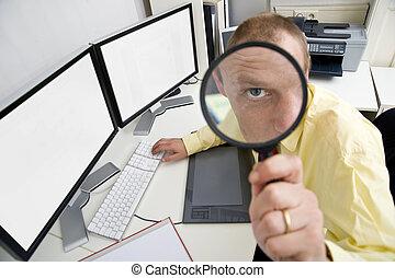 Watchful businessman - The eye of a businessman, sitting...