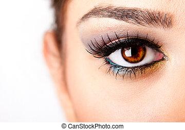 Fashion beautiful female brown watchful eye with long black eyelashes mascara, isolated.