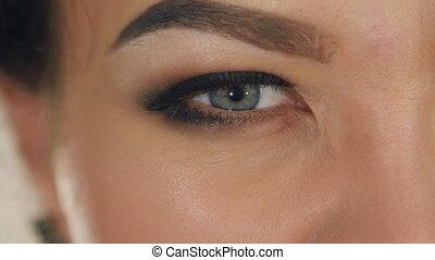 watchful gaze girl. extreme close-up of female eye