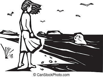 Watching a seal - Woodcut style image of a girl on a beach...