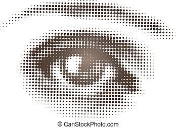 Watching Eye - Isolated vector art of single eye in halftone...