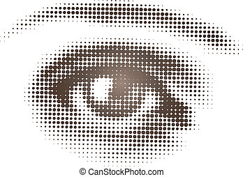 Isolated vector art of single eye in halftone pattern