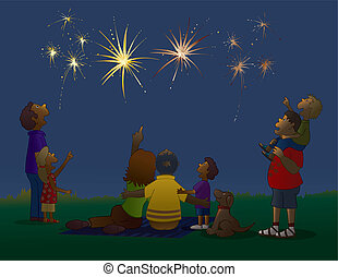 Watching Fireworks - Vector art in Illustrator 8. The best...