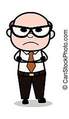 Watching in Aggression - Retro Cartoon Office old Boss Man Vector Illustration