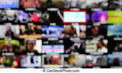 Watching Multiple Channels - Mosaic of TV Channels, Choose...