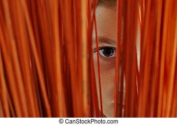 Watching - Close up of a girls eye wacthig through a slit