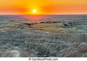 Landscape Vista Sunset at the Badlands National Park in South Dakota, USA