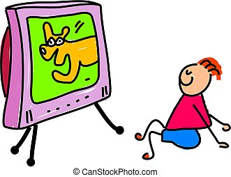 watching telly - little boy sat watching the television - ...