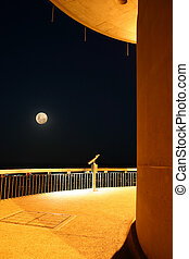 Watching the moon - Night scene on the Telstra tower...