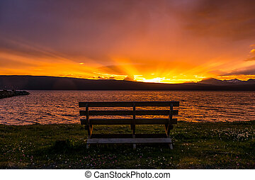 Watching the sunset - A beautiful sunset with nobody ...