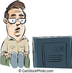A cartoon man sitting and watching tv.
