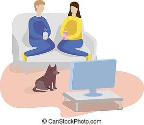 Watching TV at home. Man, woman and dog.