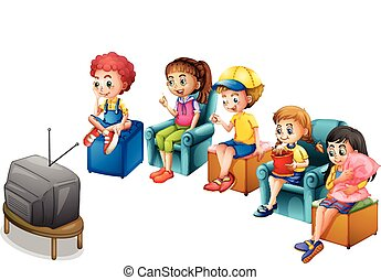 Watching TV - Boys and girls watching television on chairs