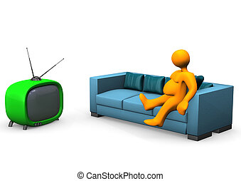 Watching TV - Orange fat toon looks tv. White background.