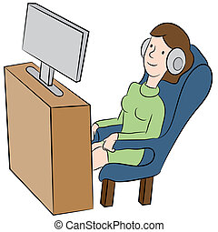 Watching TV with Headphones
