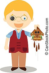 Watchmaker character from Switzerland with cuckoo clock...
