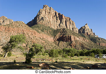 The Watchman peak above Watchman campground near the Zion Visitor Center