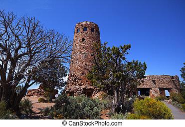 watchtower, 砂漠, 光景
