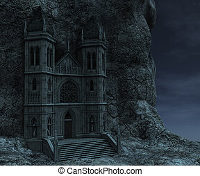 3D rendered watchtower on the rock in night