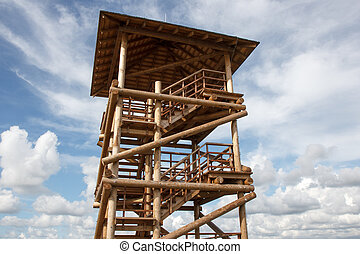 Watchtower - A wooden multi-storey watchtower on sky ...
