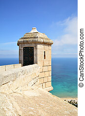 Watchtower of Santa Barbara fortress in Alicante, Spain