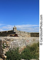 Watchtower of the fortress on the beach in Peniche village