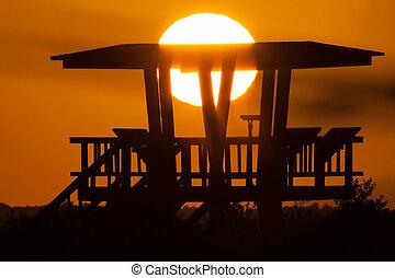 Watchtower - Silhouette of a watchtower, Merritt Island,...