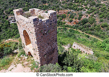 Watchtower, the remains of outer walls of castle Monfort in ...