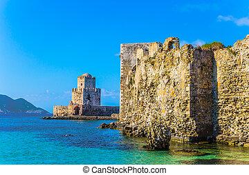 Watchtower - Venetian fort castle Methoni on the Greek ...