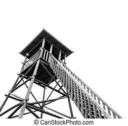 Watchtower - Wooden observation tower isolated on a white ...
