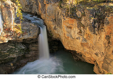 watefall, in, bellezza, insenatura, canyon, jasper parco nazionale, in, alberta