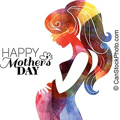 Waterсolor beautiful pregnant woman. Vector illustration