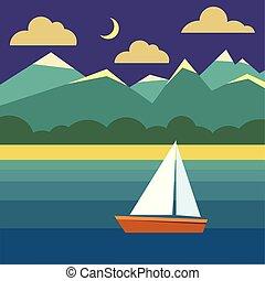 water., ég, hajó, óceán, táj, éjszaka, csónakázik