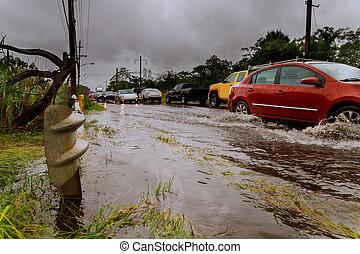 water., 下に, 道 ライン, 洪水, 通り。, タイ, 自動車, 乗車