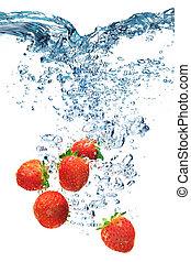 water, aardbei, onder, dalingen, deeply