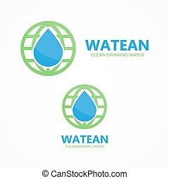 water, aarde, combinatie, logo