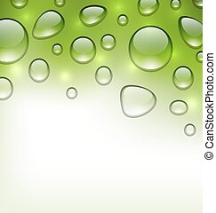 Water abstract green background with drops, place for your text