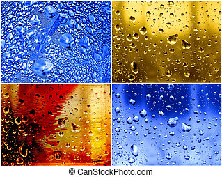 water, abstract, set, achtergrond, gedropen