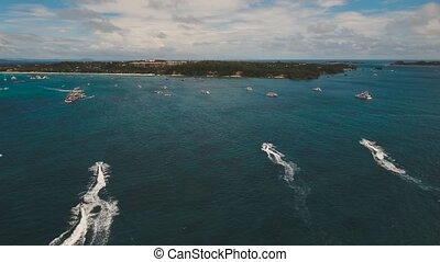 Water activities at sea - aerial view water sports and...