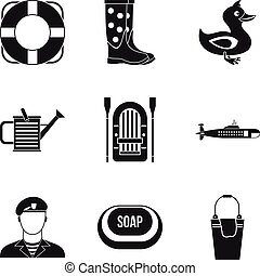 Water activity icons set, simple style