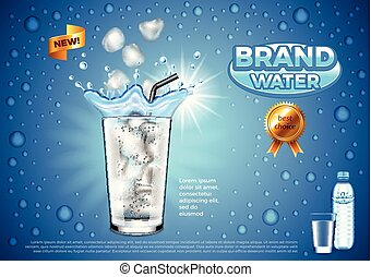 Water ads. Ice cubes falling into glass vector background