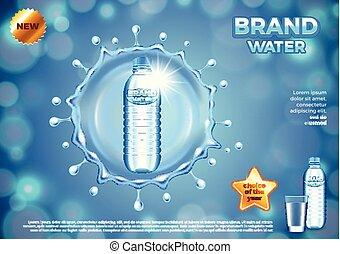 Water ads. Plastic bottle in round splash vector background...